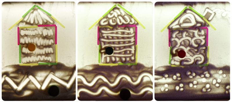 песочная сказка Три поросенка домики поросят