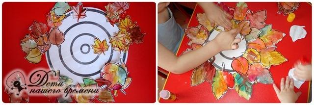выкладываем узоры из листьев