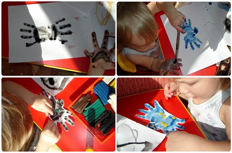 рисунки пальчиковыми красками паучок