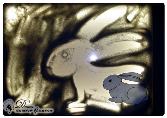 лесные звери, заяц на песке