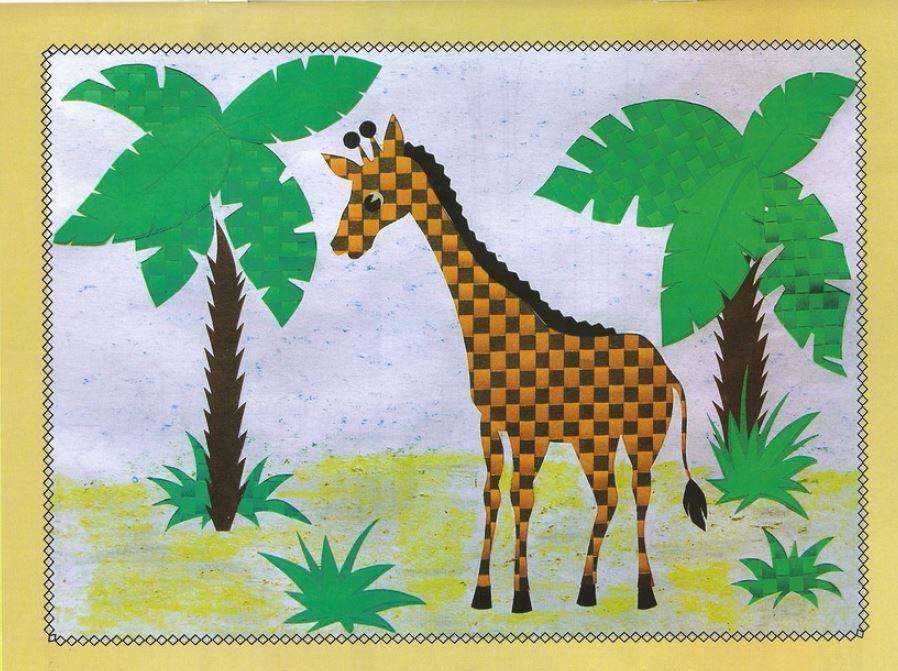 Поделка открытка из плетёного бумажного коврика