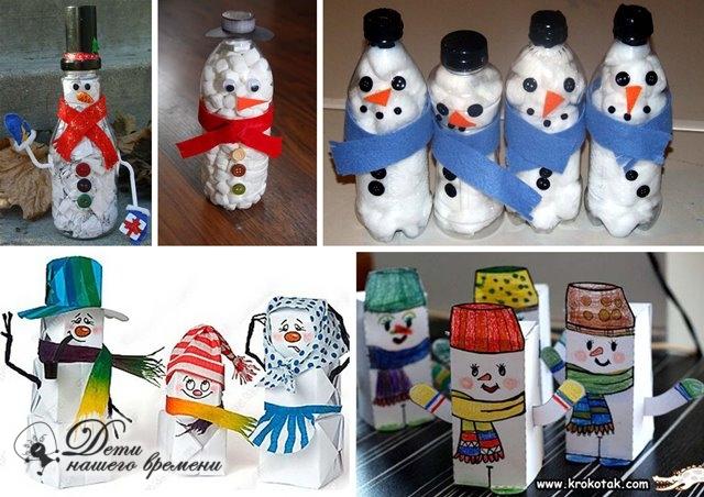 снеговики из бутылок и коробок